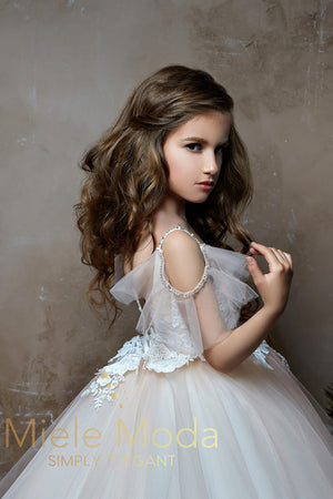 Pretty girl wearing Athena Flower Girl Dress Pageant Dress-by Miele Moda Boutique