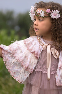 Pretty girl wearing Aurora Deluxe Lace Feathers and Rhinestones Girl Cape-by Miele Moda Boutique