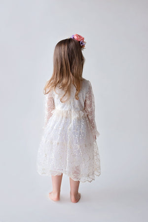 Bianca Lace Girls Dress with Bows in Antique White-Little Girl Dress-Miele Moda