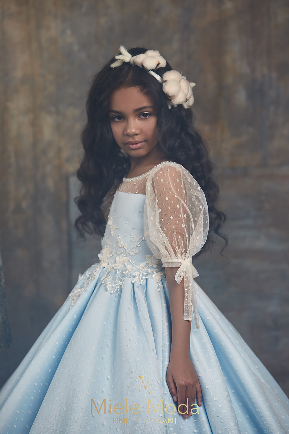 Pretty girl wearing Brea Couture Lace Dress with Optional Cape-by Miele Moda Boutique