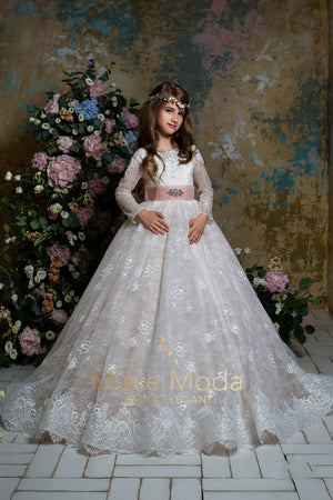 Pretty girl wearing Camila Flower Girl Dress Pageant Dress-by Miele Moda Boutique