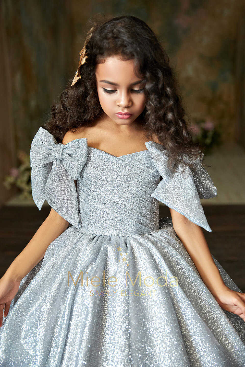 Pretty girl wearing Charlotte Flower Girl Couture Dress-by Miele Moda Boutique