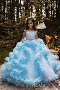 Pretty girl wearing Daphne Lace Couture Flower Girl Dress-by Miele Moda Boutique