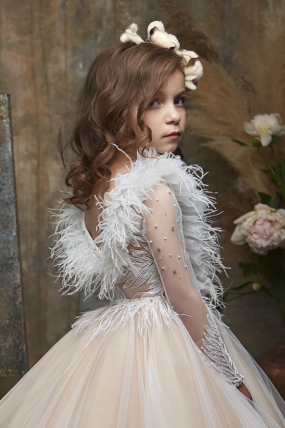Pretty girl wearing Lady Diana Flower Girl Couture Dress-by Miele Moda Boutique