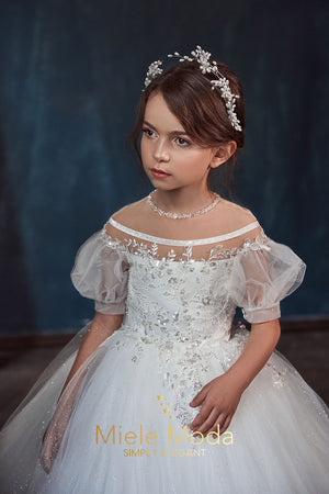 Giselle Couture Flower Girl Dress with Cape