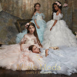 Pretty girl wearing Grace Flower Girl Couture Dress-by Miele Moda Boutique