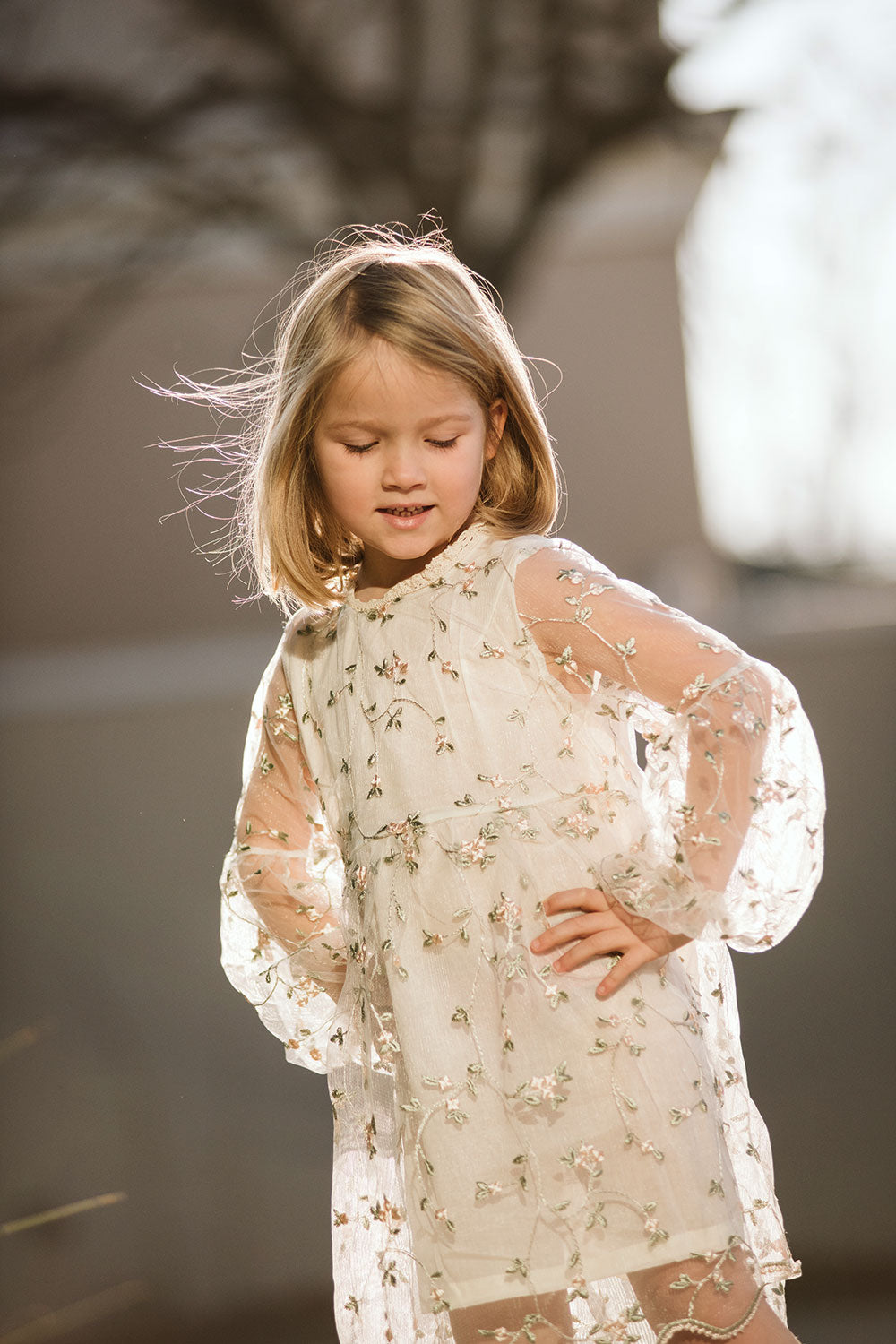Pretty girl wearing Jasmine Vintage Style Boho Girls Lace Dress-by Miele Moda Boutique