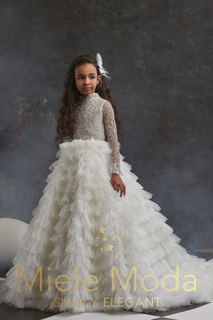 Pretty girl wearing Josephina Shimmering Flower Girl Couture Dress-by Miele Moda Boutique