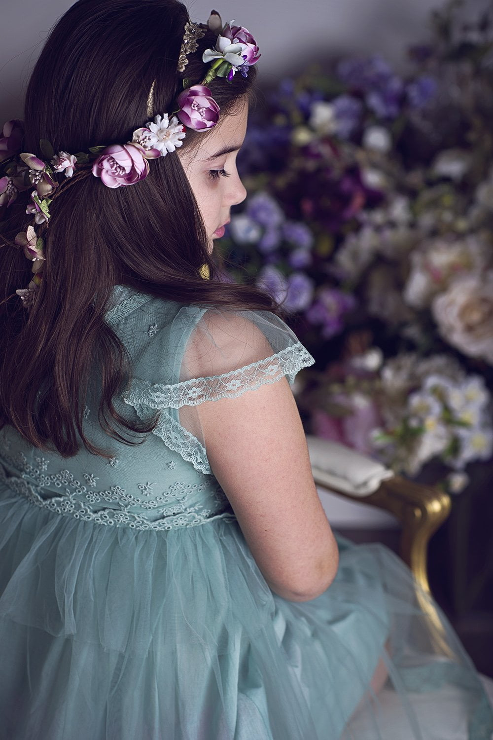 Pretty girl wearing Kea Cotton and Lace Dress in Vintage Green-by Miele Moda Boutique
