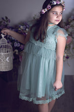 Kea Cotton and Lace Dress in Vintage Green-Little Girl Dress-Miele Moda