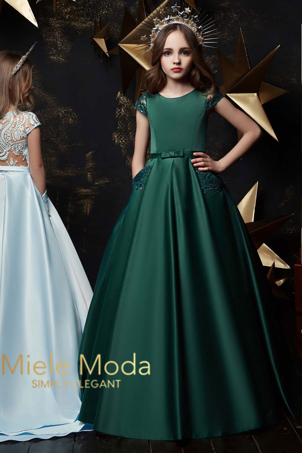 Livia Couture Dress in Emerald Green
