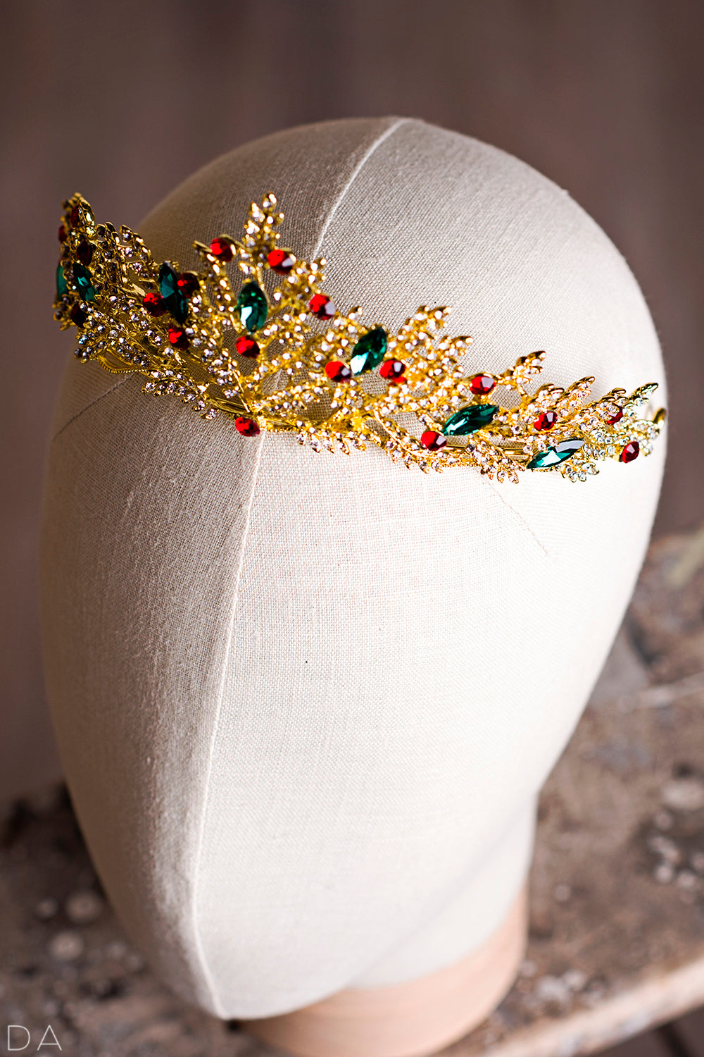 Pretty girl wearing Lola Christmas Red Green Holiday Gilded Tiara-by Miele Moda Boutique
