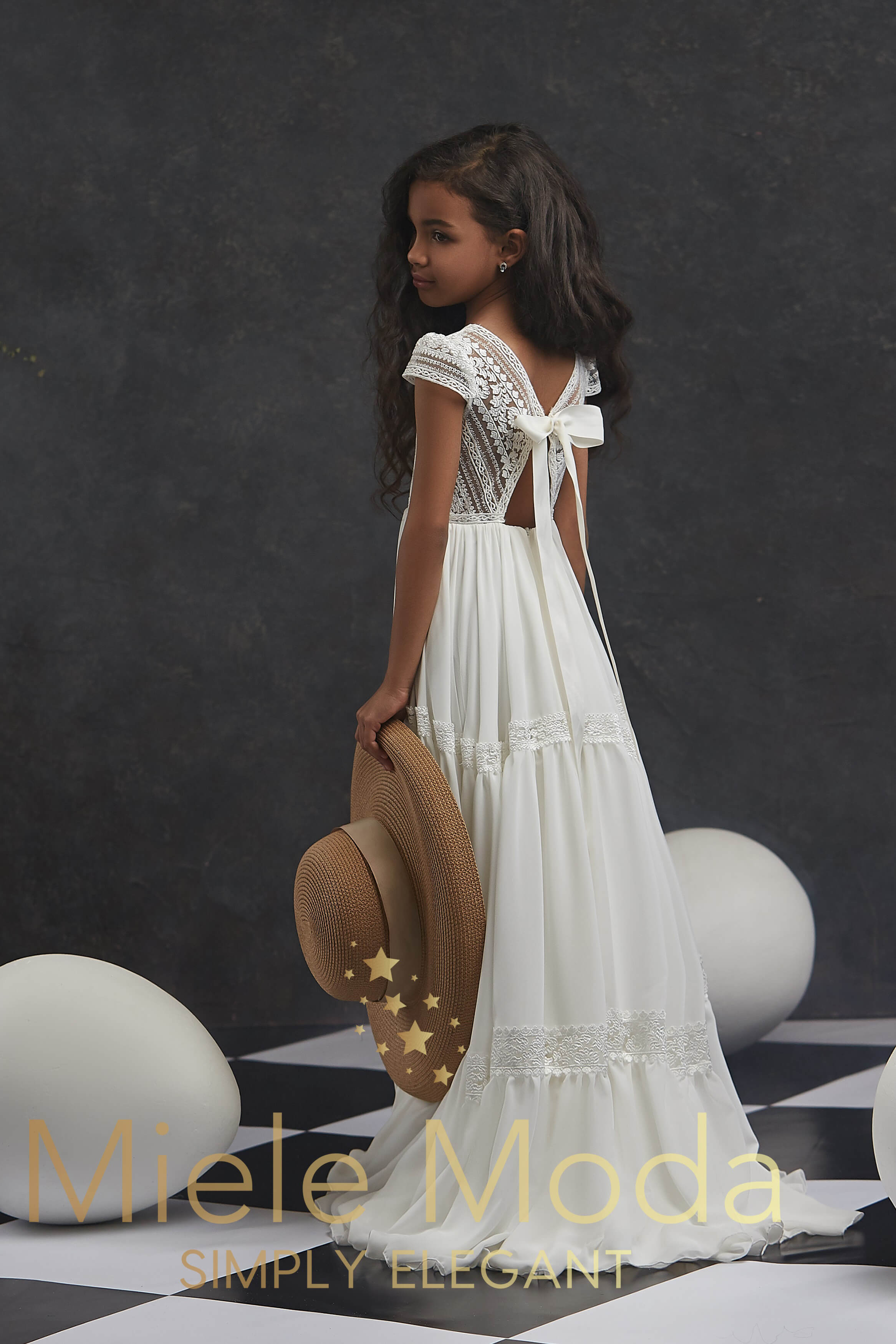 Pretty girl wearing Magda Lace Flower Girl Couture Dress-by Miele Moda Boutique