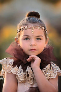 Majesty Teardrop Gold Flowers Girl Headband-Hair Accessory-Miele Moda