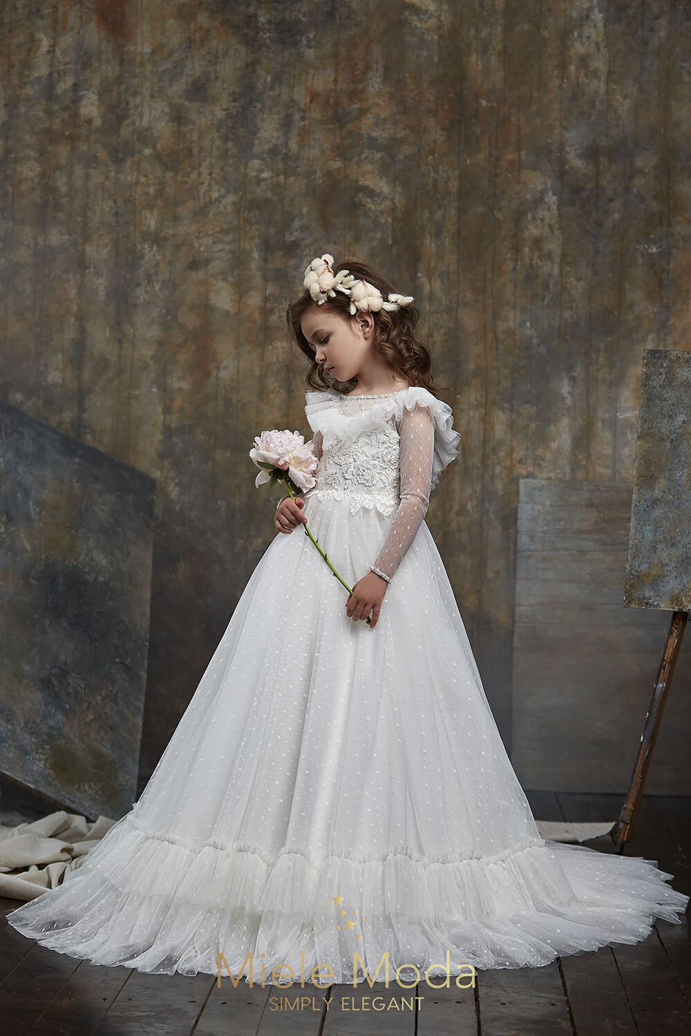 Pretty girl wearing Melania Flower Girl Dress Wedding Lace Dress-by Miele Moda Boutique