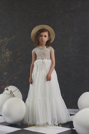 Pretty girl wearing Opal Flower Girl Couture Dress-by Miele Moda Boutique