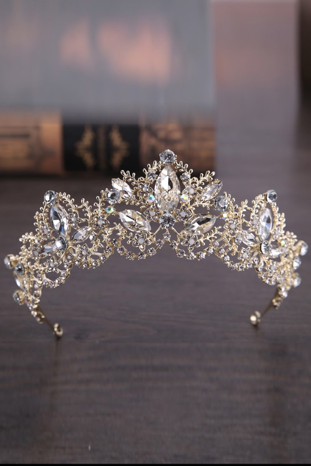 Pretty girl wearing Remi Rhinestones Gold Sparkly Metal Tiara-by Miele Moda Boutique