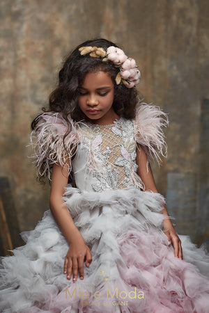 Pretty girl wearing Rosaline Flower Girl High Fashion Couture Dress-by Miele Moda Boutique