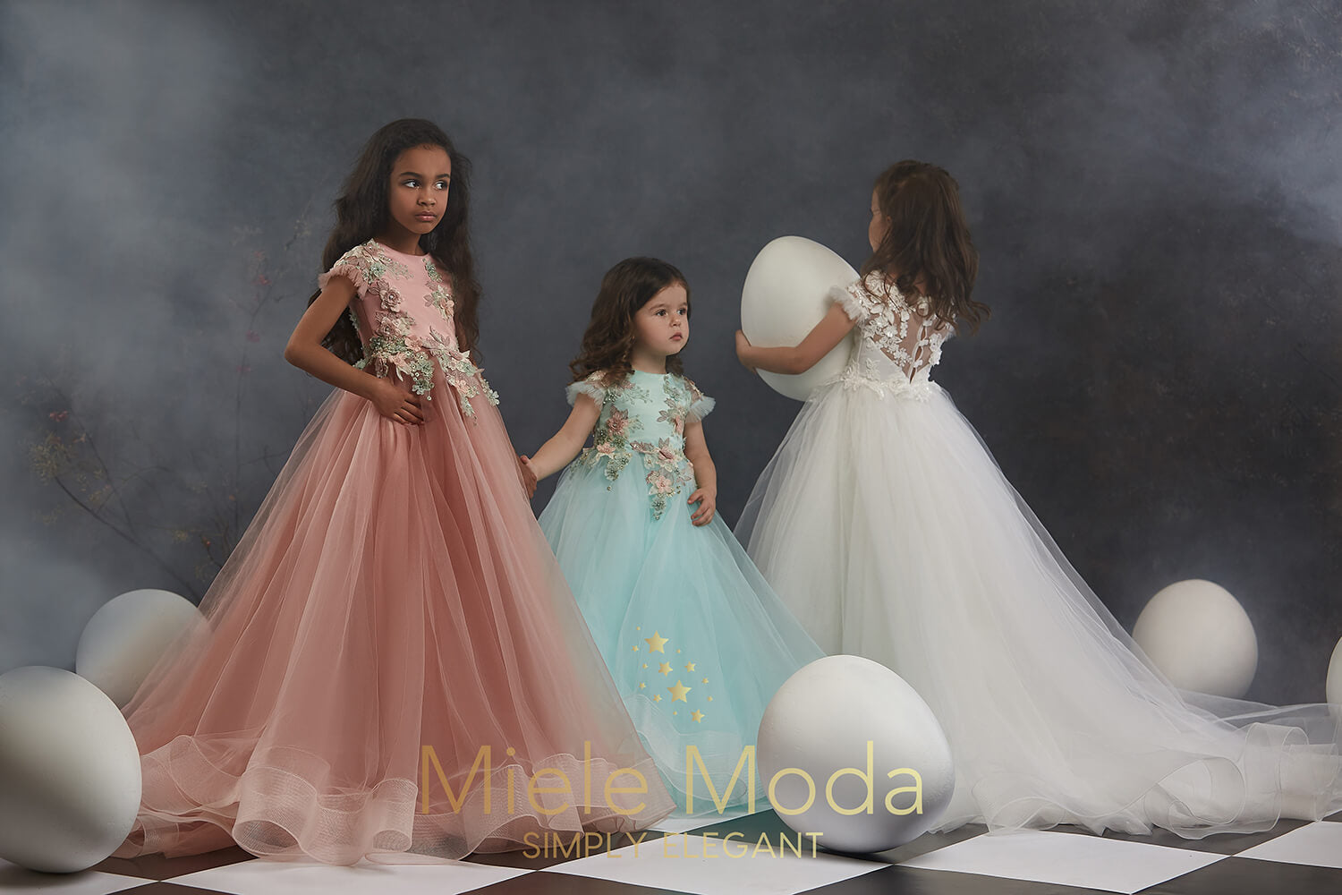 Pretty girl wearing Selina Flower Girl Couture Dress-by Miele Moda Boutique
