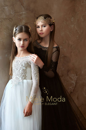 Pretty girl wearing Sienna Lace Flower Girl Dress-by Miele Moda Boutique