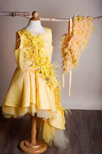 Solange High Low Textured Flower Girl Dress and Cape IN STOCK-Special Occasion Dress-Miele Moda