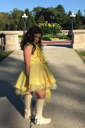 Pretty girl wearing Solange High Low Flower Girl Dress and Cape-by Miele Moda Boutique