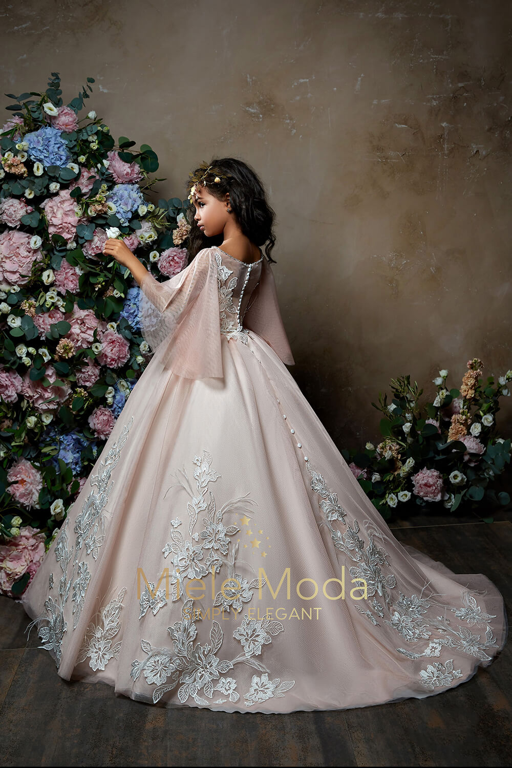 Pretty girl wearing Vivienne Flower Girl Couture Dress-by Miele Moda Boutique