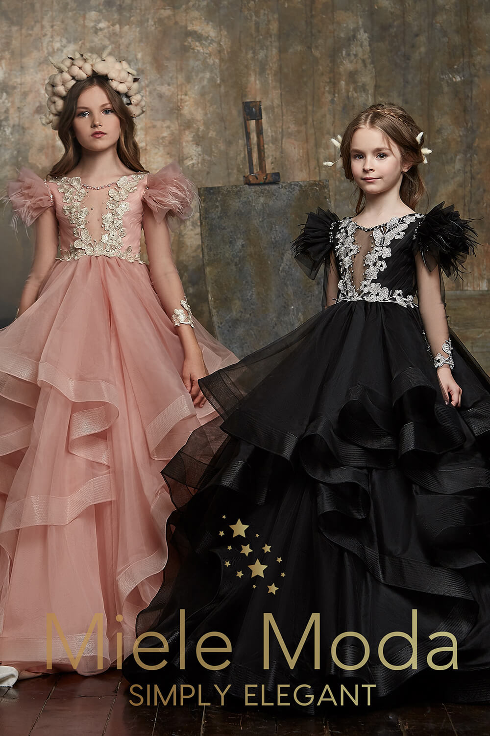 Pretty girl wearing Zara Flower Girl Couture Dress-by Miele Moda Boutique
