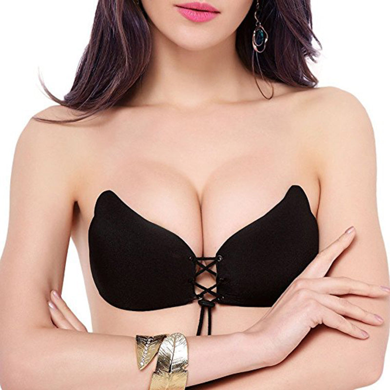 2017 Strapless Self Adhesive Bra Sexy Deep V Reusable Wing Shape Bra Backless Bralette Invisible Push Up Bra with Drawstring