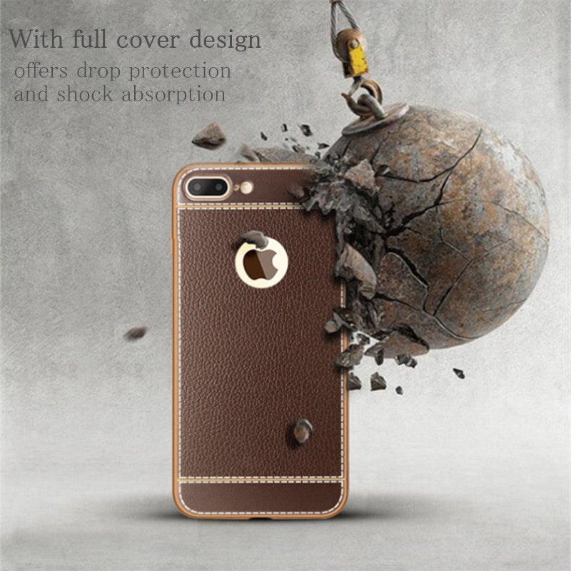 KRY Litchi Grain Luxury Plating Phone Cases For iPhone