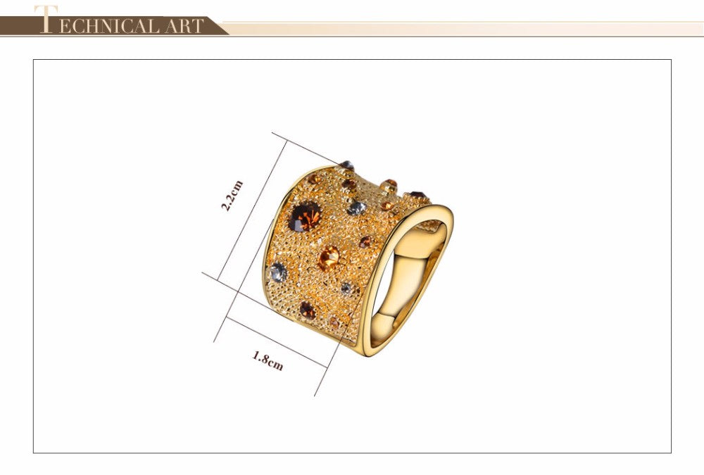 Viennois Wide Gold Color Finger Rings for Woman