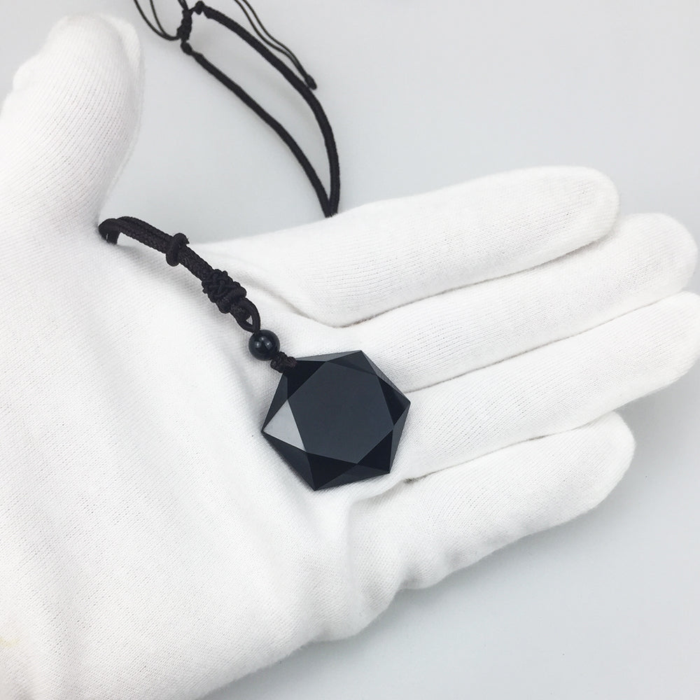 Black Obsidian Natural Stone Pendant Necklaces For Women and Men