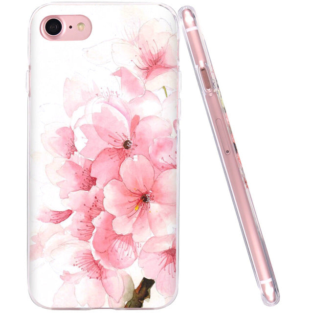 WeiFaJK Girl Phone Case for iPhone 6 Cases for iPhon 5 5s 6s 7 Plus 3D Flower Soft TPU Silicone Cover for Apple iPhone 7 Case