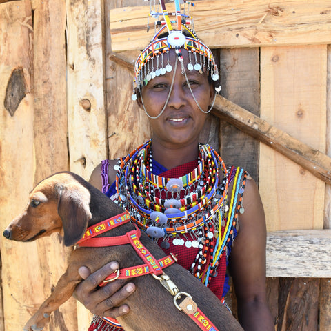 Kenyan Lady with traditional African Beads and beaded dog collar and harness
