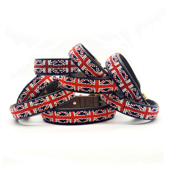 Union Jack Red White & Blue on Brown - SALE