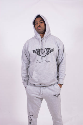 Classic Grey & Black Pull Over Hoody