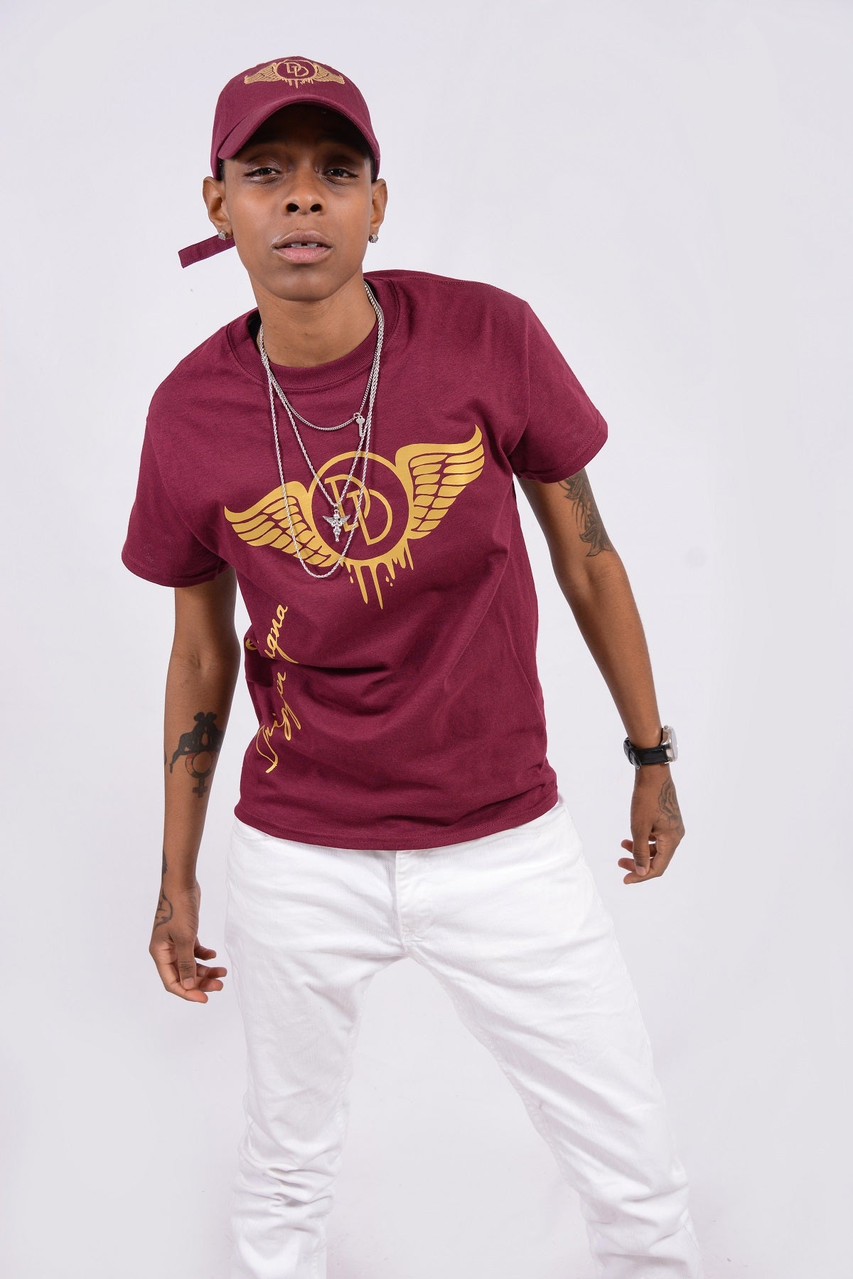 Side Tee Burgundy & Gold