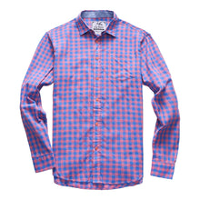 The Greyson Long Sleeve Gingham Plaid Shirt in Blue/Pink