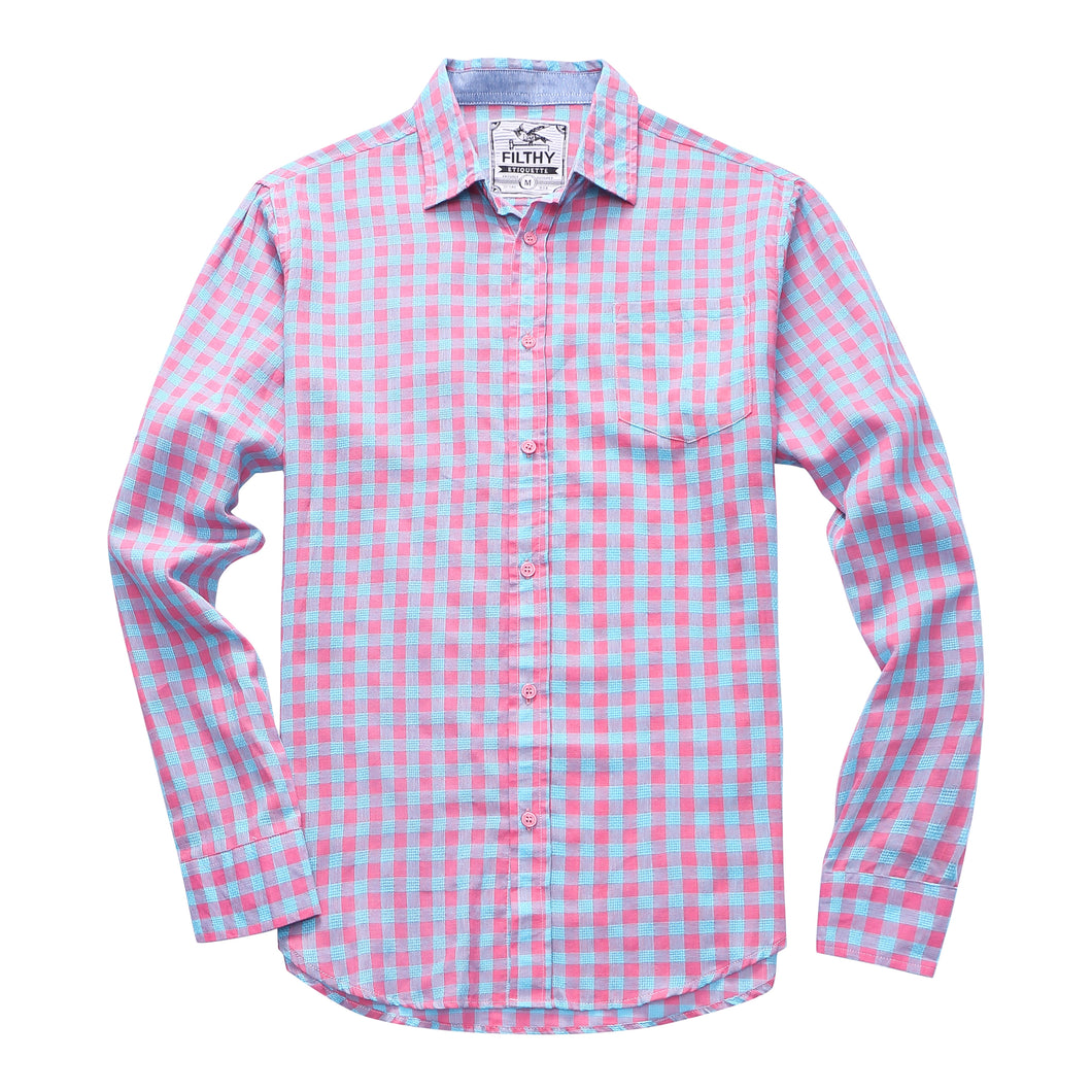 The Greyson Long Sleeve Gingham Plaid Shirt in Pink/Blue