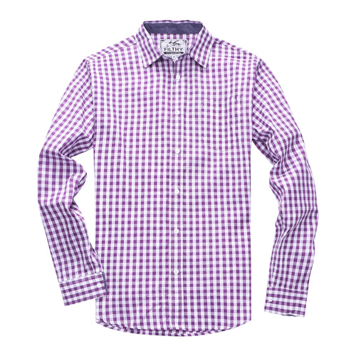 The Greyson Long Sleeve Gingham Plaid Shirt in Purple