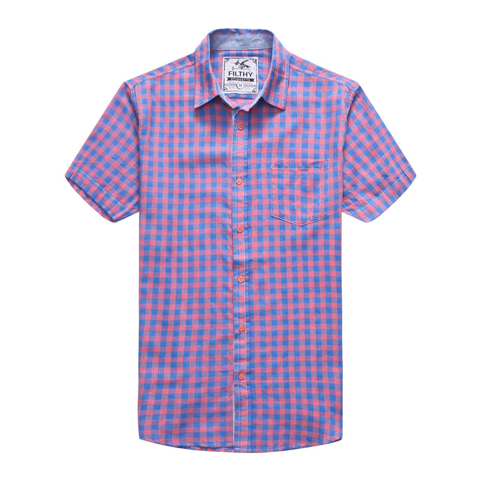 The Jason Short Sleeve Gingham Plaid Shirt in Blue/Pink