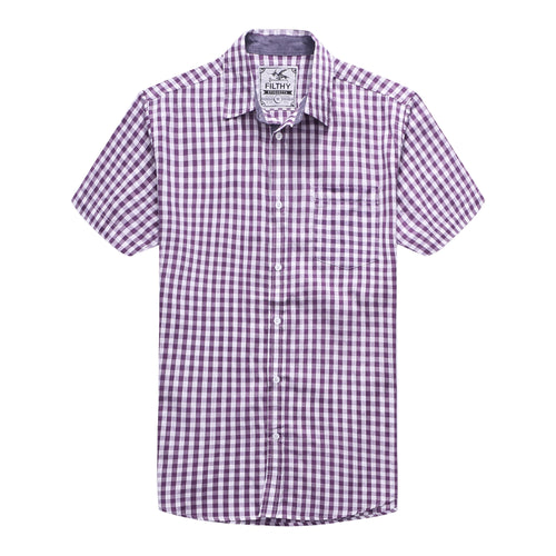 The Jason Short Sleeve Gingham Plaid Shirt in Purple
