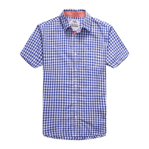 The Jason Short Sleeve Gingham Plaid Shirt in Navy