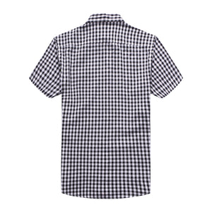 The Jason Short Sleeve Gingham Plaid Shirt in Black
