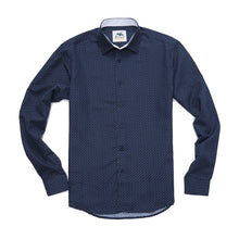 The Ashton Long Sleeve Printed Shirt in Navy