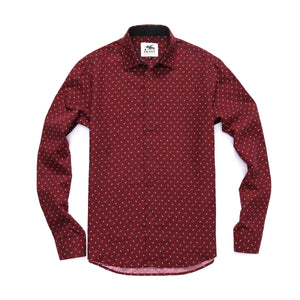 The Ashton Long Sleeve Mustache Printed Shirt in Maroon