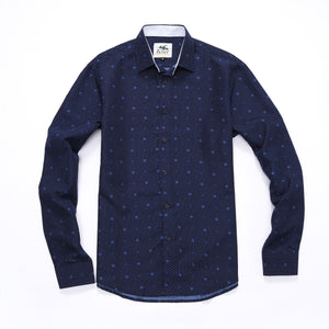 The Ashton Long Sleeve Double Dot Print Shirt in Navy