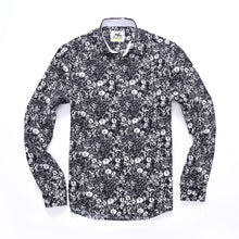 The Ashton Long Sleeve Gritty Floral Print Shirt in Black/White