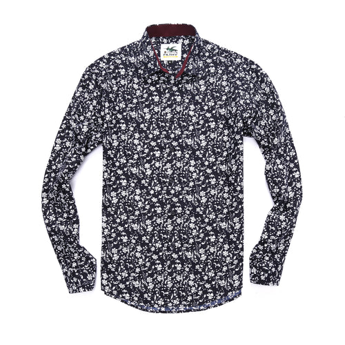 The Ashton Long Sleeve Sprigs Floral Print Shirt in Black/White