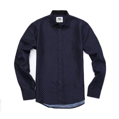 The Ashton Long Sleeve Polka Dot Print Shirt in Navy